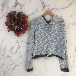 Bp Cropped Marled Knit Hoodie in Grey